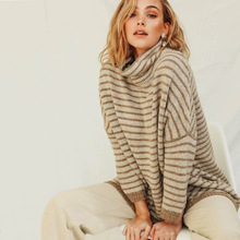 Diwish Pullovers Women Sweater Turtleneck Knit Christmas Plus-size Striped Casual Long Korean Tops Winter Clothes