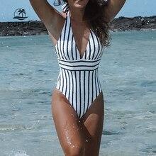 CUPSHE 해군과 흰색 줄무늬 보우 홀터 원피스 수영복 여성 섹시한 해변 수영복 2020 소녀 Boho Monokini 수영복