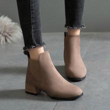 Buty damskie 2020 nowe buty zimowe damskie zamszowe buty na obcasie czarne buty damskie buty do kostki damskie buty damskie solidne buty damskie tanie tanio JIASHA Flock ANKLE Stałe 13-LXZ1891-1 Plac heel Podstawowe NONE Okrągły nosek Wiosna jesień RUBBER Med (3 cm-5 cm) Slip-on