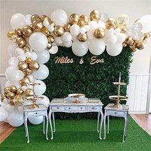 Jogo branco do arco da guirlanda do balão, balões brancos dos confetes do ouro 98 pces, folhas artificiais da palma 6 decorações do aniversário do casamento dos pces
