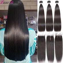 Luxediva pacotes retos com fechamento tecer cabelo brasileiro pacotes com fechamento de renda real cabelo humano 24 26 28 30 polegada pacotes