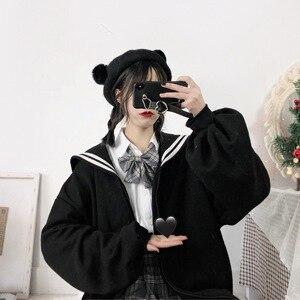 Image 2 - Kış Kawaii tatlı kız büyük boy Hoodie Streetwear Sailor yaka kazak kadınlar Harajuku fermuar giyim ceket siyah mavi