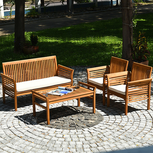 4 PCS Outdoor Wooden Furniture Set  2