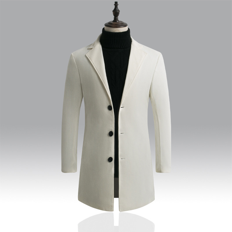 DIHOPE Wool Jacket Clothing Coats Blends Autumn Winter Men's Luxurious Brand New Solid title=