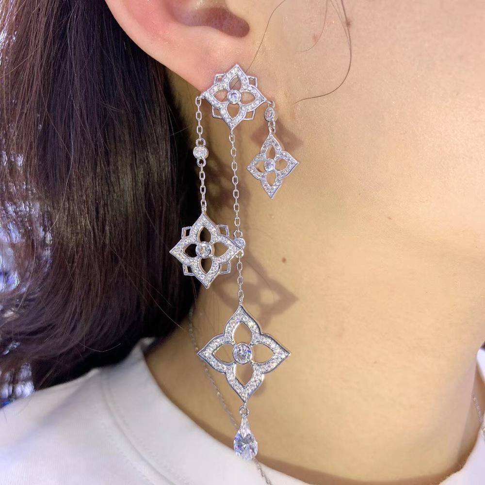 Trendy Luxury Long Tassels Dangle Earrings For Women Wedding Cubic Zircon Crystal African Dubai Bridal Earring E10060