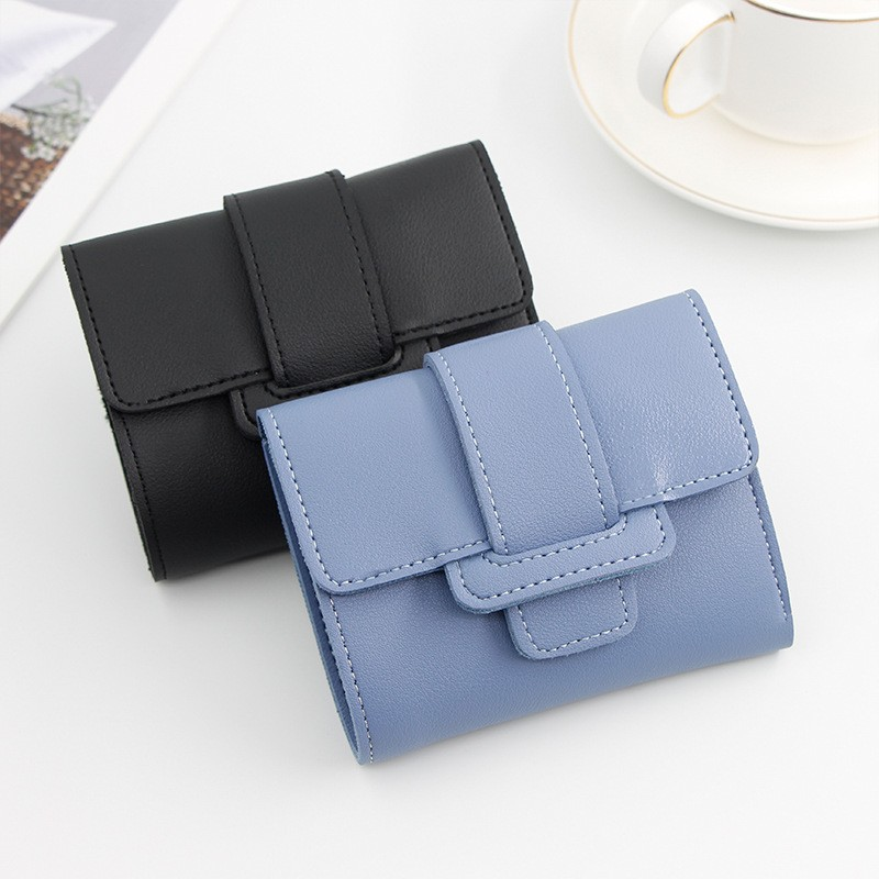 Short Wallets Female Coin Purse Casual Pu Leather Card Holder Slim Gift Hasp Clutch Women's Three- Folding Lovely Candy Color