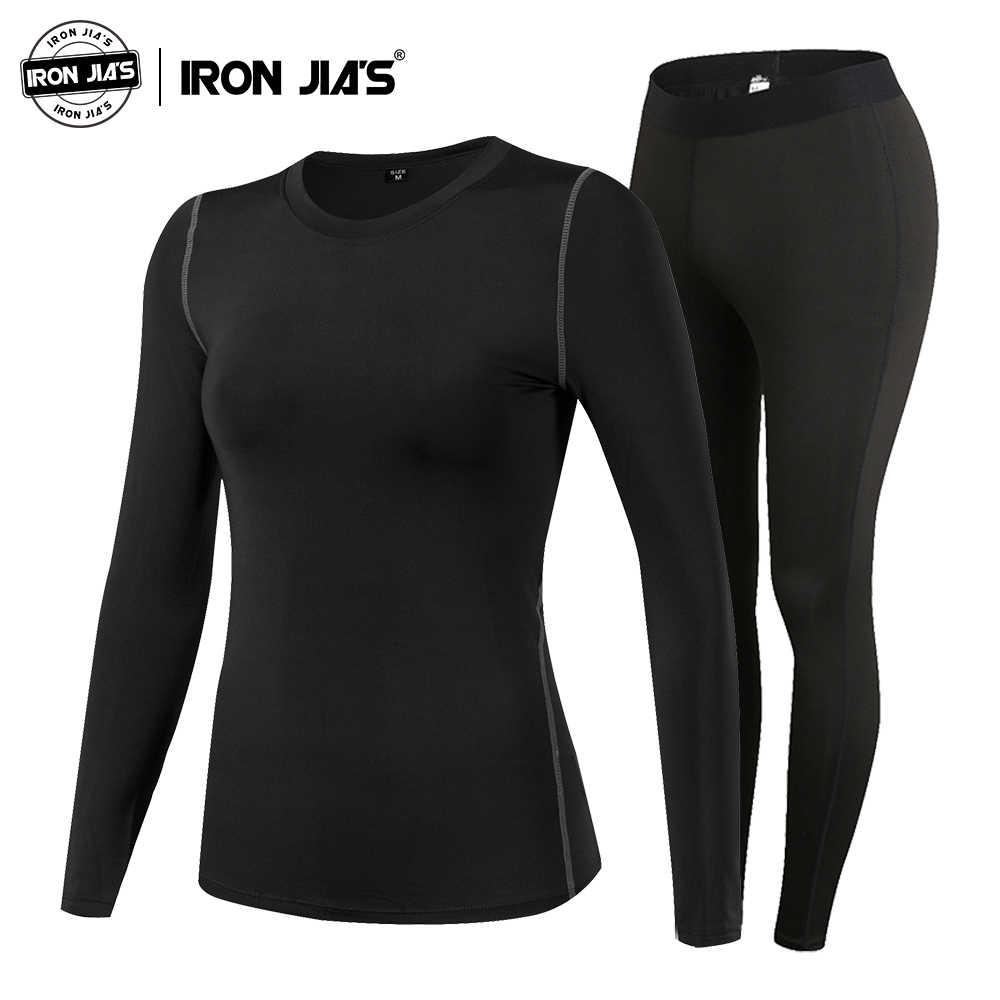 Besi Jia's Wanita Thermal Underwear Set Musim Dingin Elastis Motor Ski Hangat Long Johns Polo Shirt Bawah Suit