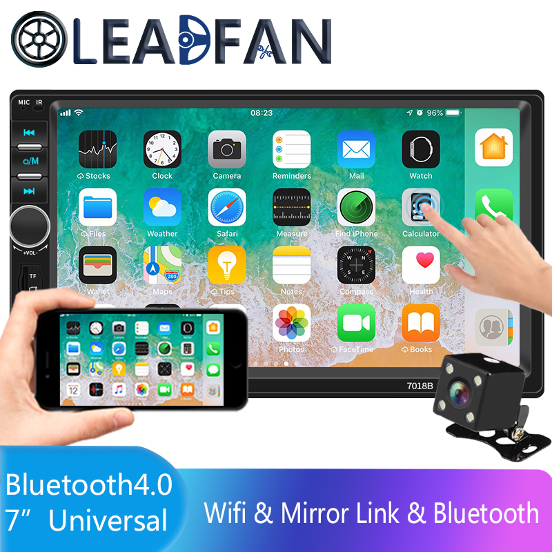 Leadfan HD 7 Autoradio Recorder 2 Car Radio Din Touch Screen Audio Bluetooth USB Camera Rear View Multimedia MP5 Player