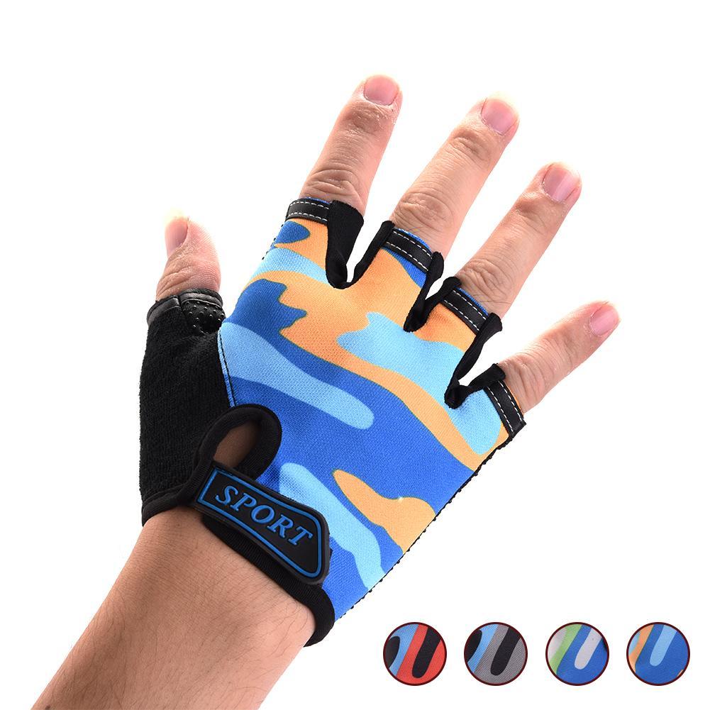 Children Kids Bike Gloves Camouflage Riding Half Finger Gloves Breathable Anti-slip Gloves For Sports Riding Cycling Equipment
