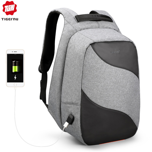 Tigernu 2019 Fashion Anti theft USB Charging 15.6inch Laptop Backpacks For Men Backpack Schoolbags Male Business Travel Mochilas