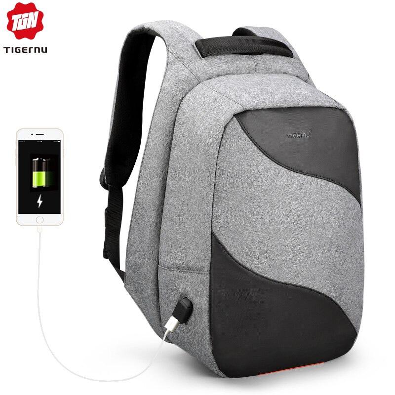 Tigernu 2019 ファッション抗盗難 USB 充電 15.6 インチノートパソコンのバックパック男性バックパックランドセル男性ビジネス旅行 Mochilas  グループ上の スーツケース & バッグ からの バックパック の中 1