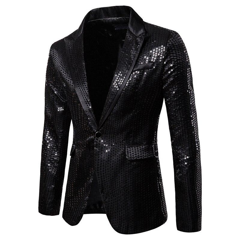 Мужской черный костюм с блестками, пиджак, Свадебный Выпускной смокинг-пиджак 2019, новый клубный DJ мужской пиджак, жакет, одежда для сцены