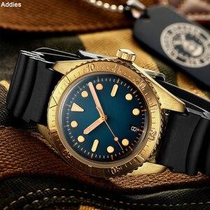 Image 2 - Addies mekanik bronz saatler erkekler 20 bar dalış NH35 hareketi C3 ışık safir kristal otomatik bronz İzle Diver 200m