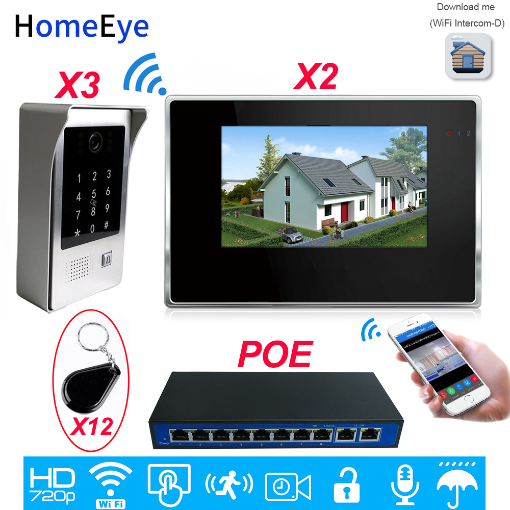 720P Wifi Video Door Phone SIP Video Intercom System 7'' Touch Screen Mobile App Code Keypad/RFID Card Unlock Access Control 3-2