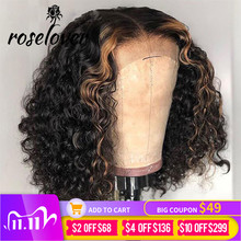 Curly Lace Closure Human Hair Wigs180 Ombre Highlight Honey Blonde Colored Brazilian Remy Hair PrePlucked 4X4 Lace Closure Wig cheap ROSELOVER Short CN(Origin) Half Machine Made Half Hand Tied Darker Color Only Swiss Lace 1 Piece Only Medium Brown Brazilian Hair