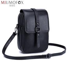 Bolso pequeño de piel auténtica para teléfono móvil, Mini bolso de mano para mujer, con solapa, cruzado