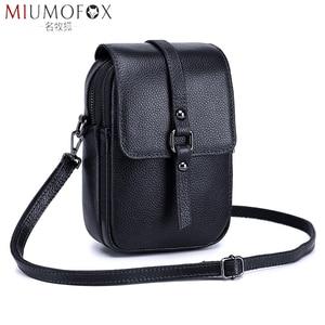 Image 1 - Fashion Mobile Phone Bag Small Clutches Shoulder Bag Genuine Leather Women Mini Handbag High Quality Purse Flap Cross body Bags