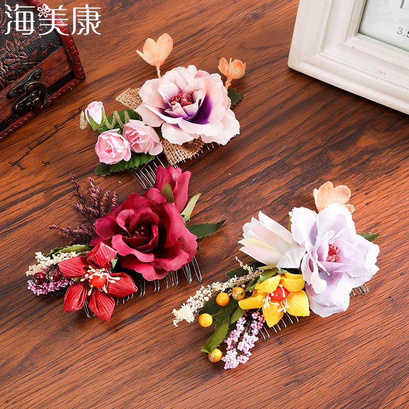 Haimeikang Fashion Flower Hair Comb Bridal Bridesmaid Wedding Floral Hair Accessories Women Party Journey Headwear