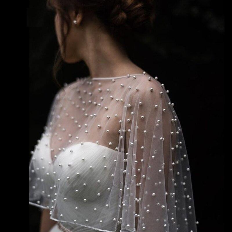 Wedding Accessories Bolero Bridal Cloak Pearls Wedding Cape short front long back Women Wrap Cape Evening Wrap Shawl