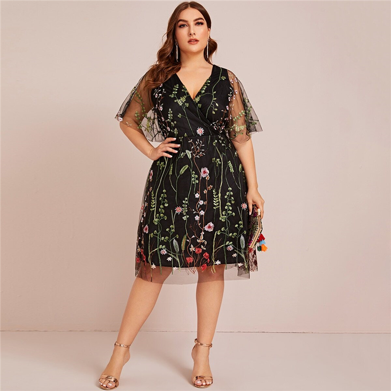 Plus Size Floral Embroidered Mesh A-line Black Dress