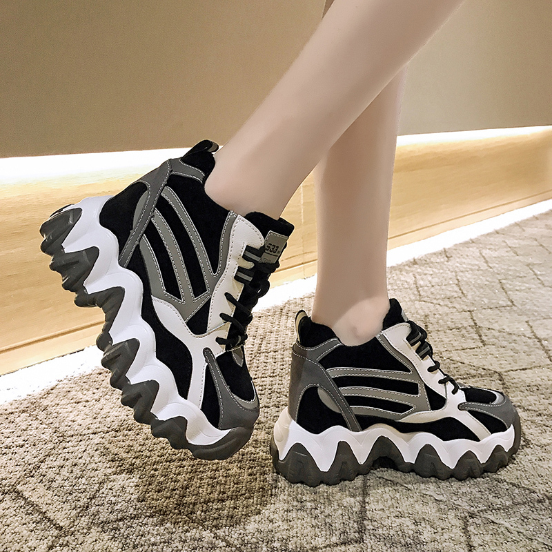 Women Sneakers 2020 Winter High Heels Ladies Casual Shoes Women Wedges Platform 10CM Shoes Thick Bottom Trainers Warm Sneakers