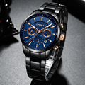 CRRJU Мужские Бизнес часы 30 м водонепроницаемые мужские часы лучший бренд Роскошные стальные часы хронограф мужские часы Saat relojes hombre