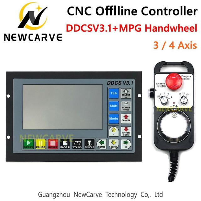 DDCSV3.1 3 / 4 Axis Offline Stand Alone Controller For Engraving Milling Machine DDCS V3.1 4.3inch Screen+MPG Handwheel NEWCARVE