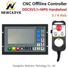 DDCSV3.1, 3 / 4 ejes, código G, CNC, controlador independiente fuera de línea para fresadora de grabado, DDCS V3.1 + MPG, volante NEWCARVE