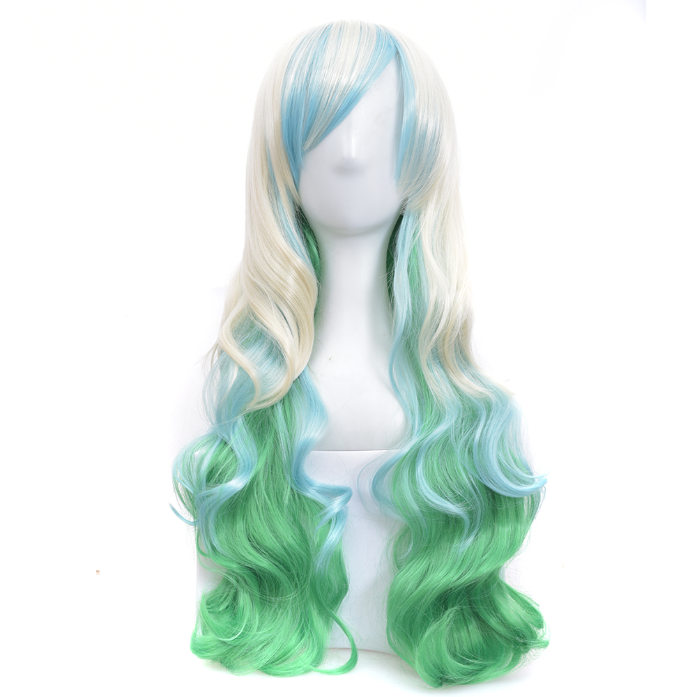 Soowee Long Curly Hair White To Green Ombre Wig With Bangs Synthetic Hair Cosplay Rainbow Wigs For Women
