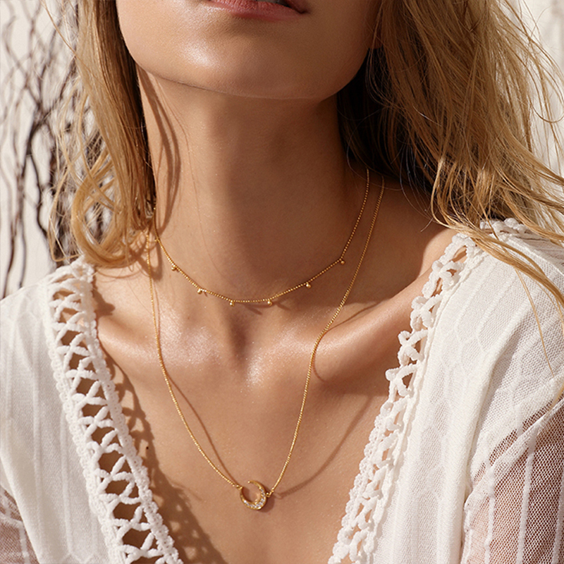 bohemian necklace Double layer Chain necklace Women Multilayer Choker Vintage collier femme Couple Jewelry Gift Choker Necklace