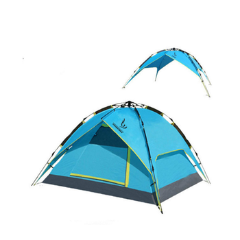 Backpacking Camping Tent, Lightweight 3-4 Persons Tent Double Layer Waterproof Portable Aluminum Poles Travel Tents Blue Color