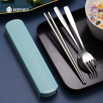 WORTHBUY Portable Travel Tableware Set Stainless Steel Dinnerware With Box Kitchen Fork Spoon Dinner Set For Kid School Cutlery 2