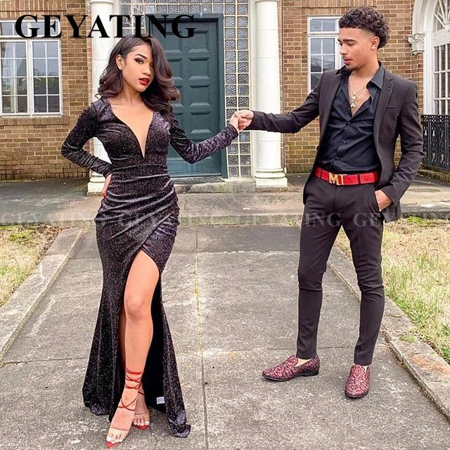Sparkly Sequined Black Mermaid Long Sleeves Prom Dresses For Black Girls Sexy V-Neck High Split Graduation Dress Evening Gowns