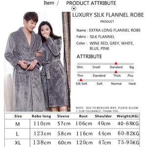 Image 5 - Women Extra Long Soft as Silk Flannel Bath Robe Femme Winter Warm Bathrobe Bride Kimono Dressing Gown Bridesmaid Robes Wedding