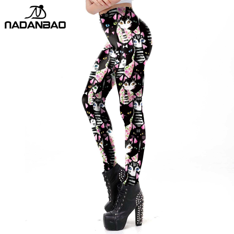NADANBAO Cute Carton Leggings For Women Cat Fitness Pants Slim Lovely Leggins Workout Pants Female Outside Clothing Plus Size