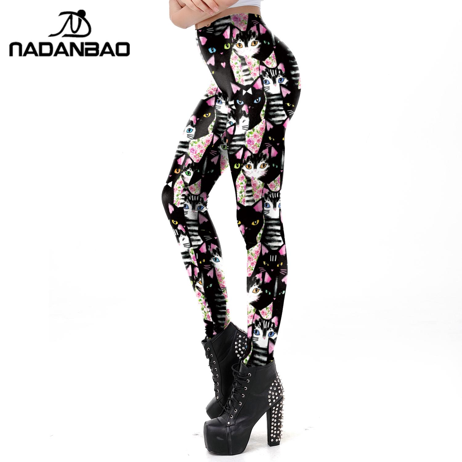 NADANBAO Cute Cartoon Leggings For Women Cat Fitness Pants Slim Lovely Leggins Workout Pants Female Outside Clothing Plus Size