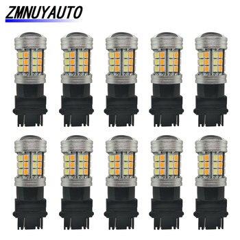 10 sztuk Switchback Led podwójny kolor T25 3157 Led P21/5W 1157 BAY15D żarówka Led T20 7443 W21/5W światło kierunkowskazów DRL biały żółty