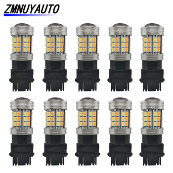 10PCS Switchback Led Dual Color T25 3157 Led P21/5W 1157 BAY15D Led Bulb T20 7443 W21/5W Car Turn Signal Light DRL White Yellow 1xhigh power 1157 5630 20smd dual color type 2 switchback white amber yellow switchback led drl turn signal parking light bulbs