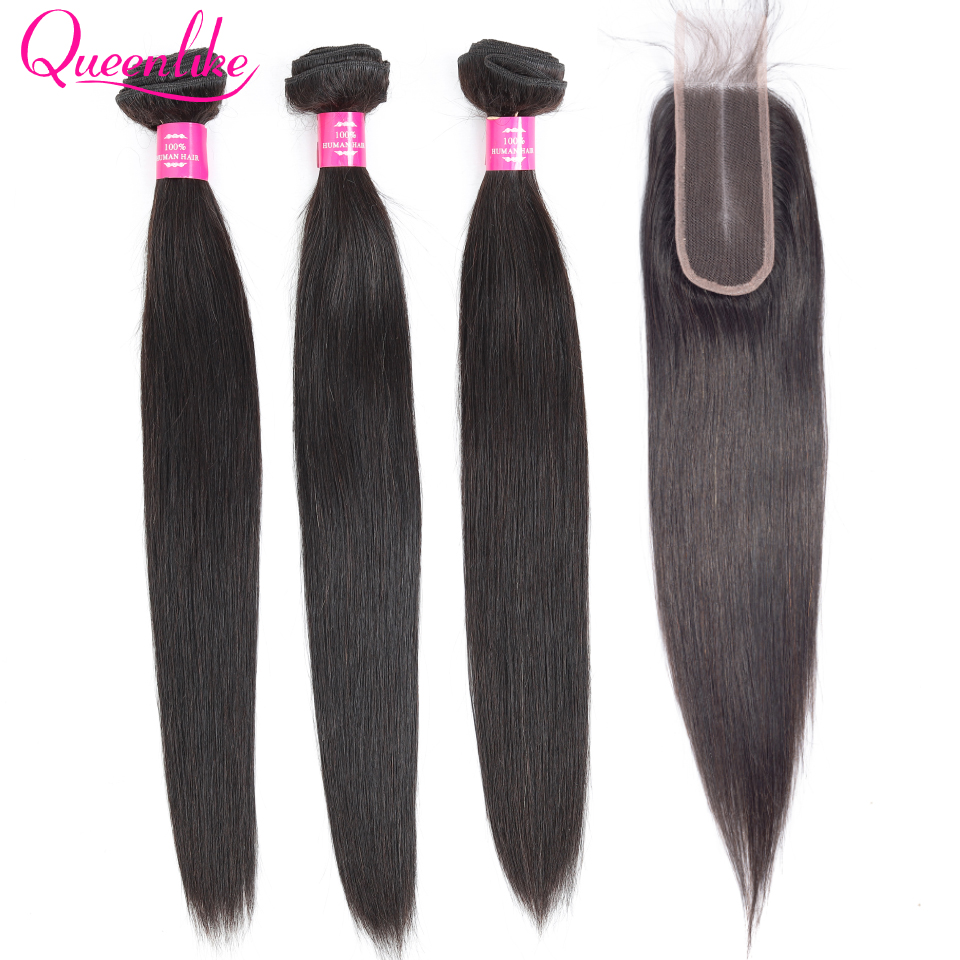 Queenlike Brazilian Hair Weave Bundles With 2x6 Deep Kim K Closure Non Remy Human Hair Weft 3 Straight Hair Bundles With Closure
