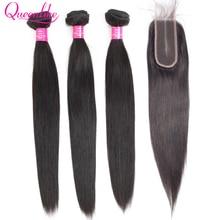 Queenlike ברזילאי שיער Weave חבילות עם 2x6 עמוק Kim K סגר ללא רמי שיער טבעי ערב 3 ישר שיער חבילות עם סגירה
