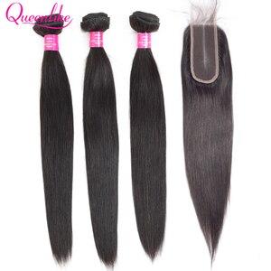 Image 1 - Queenlike ברזילאי שיער Weave חבילות עם 2x6 עמוק Kim K סגר ללא רמי שיער טבעי ערב 3 ישר שיער חבילות עם סגירה
