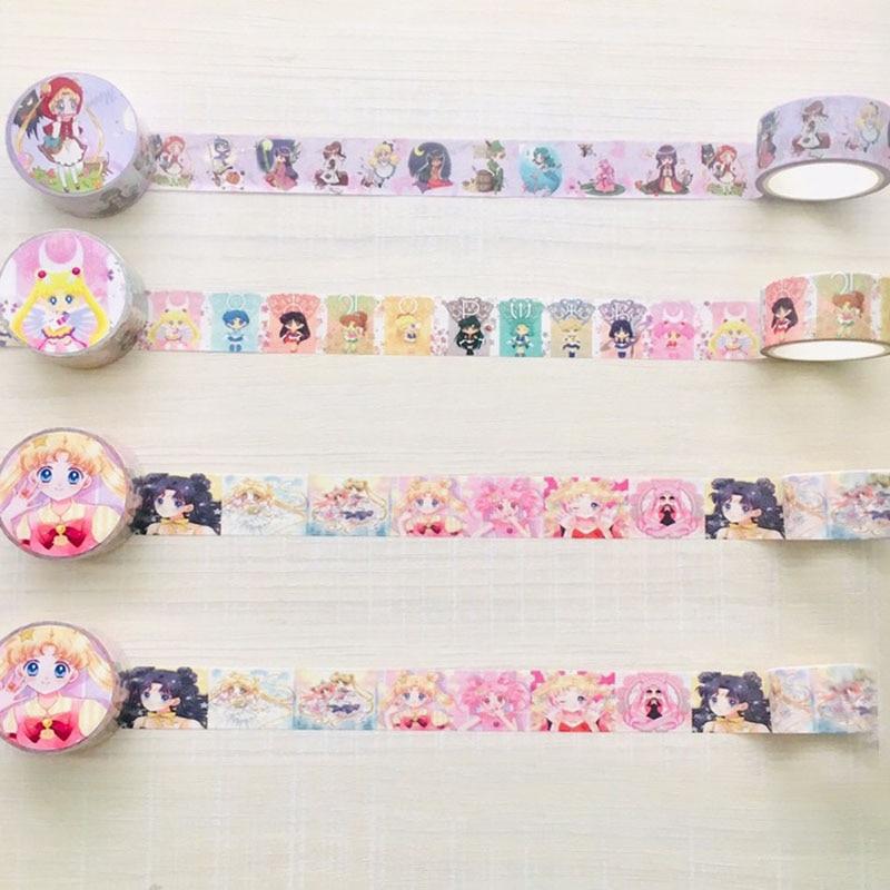 1 Pcs 2cm*5m Sailor Moon Cartoon Paper Washi Tape Fashion Adhesive Tape DIY Scrapbooking Sticker Label Masking Tape