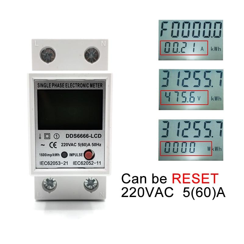Цифровой однофазный Электрический измеритель энергии кВт/ч на Din-рейке с ЖК-дисплеем, измеритель потребления электроэнергии, ваттметр, элек...