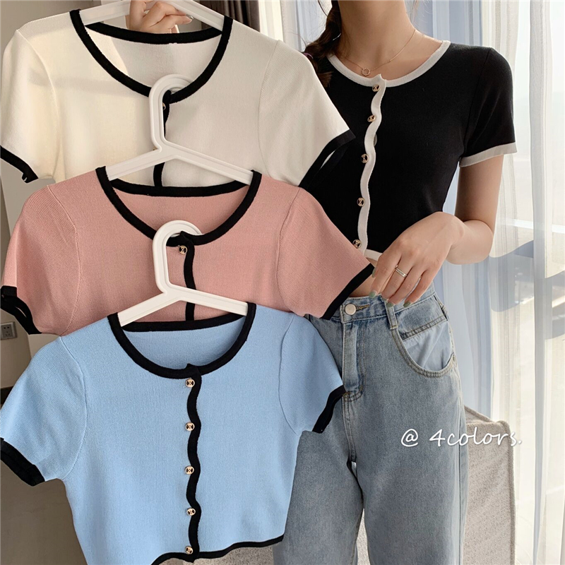 Women Patched O-Neck Knitted Short Sleeve Cropped Slim Sweaters Cardigans Lady Single-breasted Sweater Crop Tops For Female