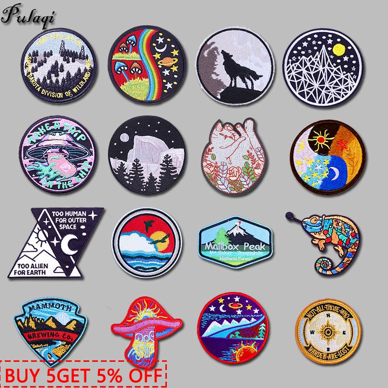 Mountain Travel Patches For Clothing Embroidered Patches On Clothes Hat Badges DIY Nature