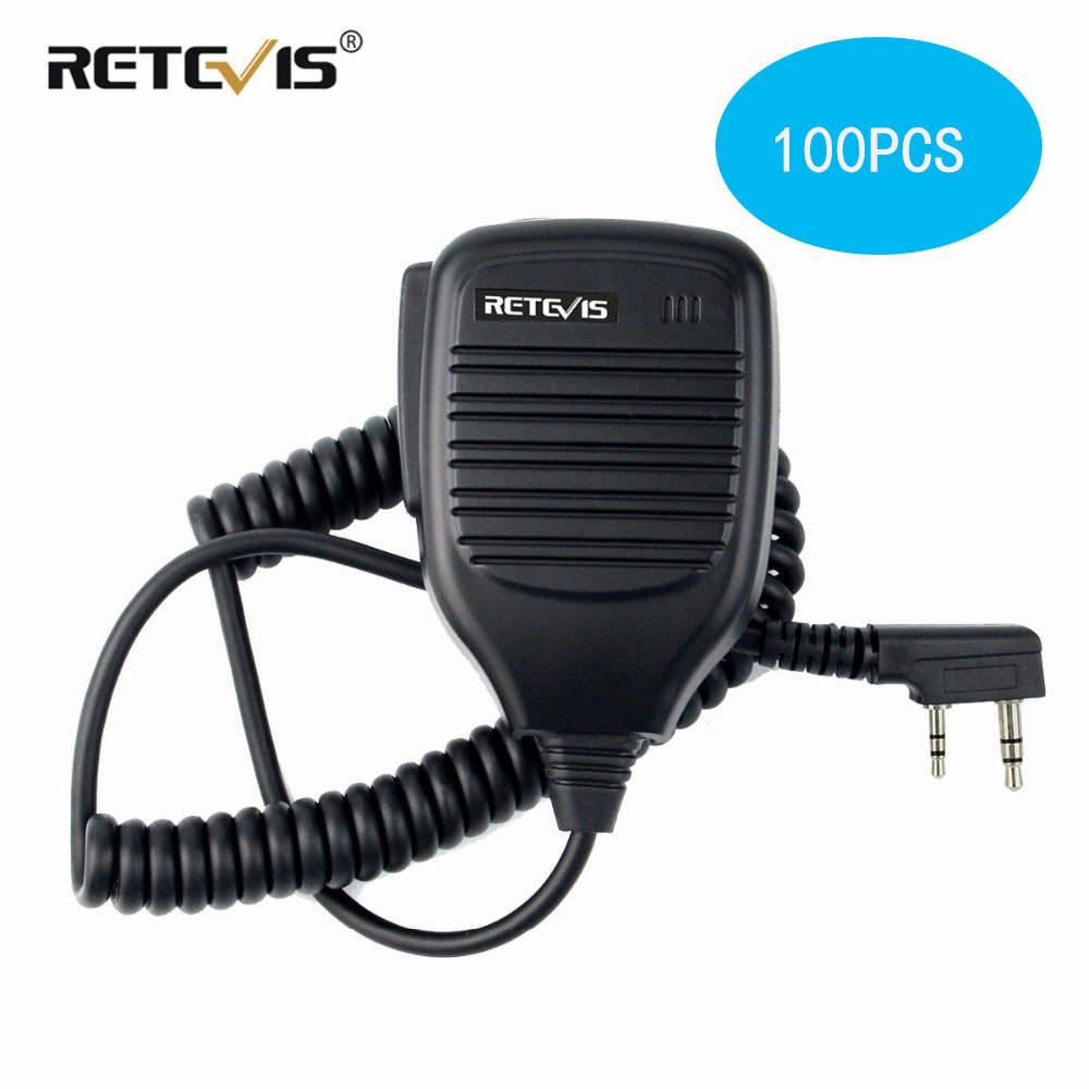 100pcs Walkie Talkie Speaker Microphone Side PTT For Kenwood Retevis RT21 RT22 H777 RT81 Baofeng UV5R 888S For Puxing For TYT