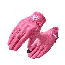 Gants en cuir pour Moto rcycle, gants de course pour femmes, rose, antidérapants, taille xs m