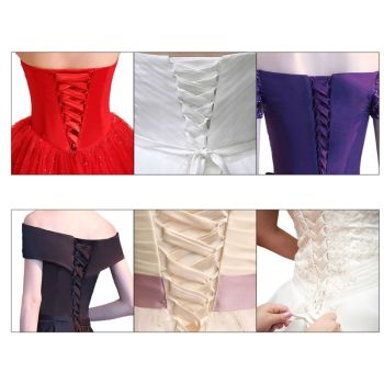 118Inch Wedding Dress Zipper Replacement Adjustable Corset Back Kit Lace-Up Satin Ribbon Ties for Bridal Banquet Evening Gown - discount item  38% OFF Wedding Accessories