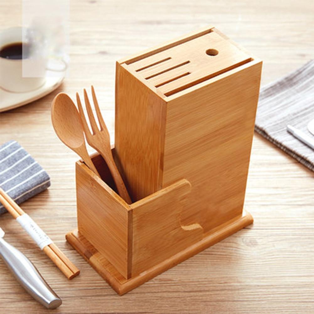 Home Natural Block Stand Bamboo Wood Forks Scissor Kitchen Chopper Spoon Holder Slot Storage Rack Organizer Tool Chopsticks