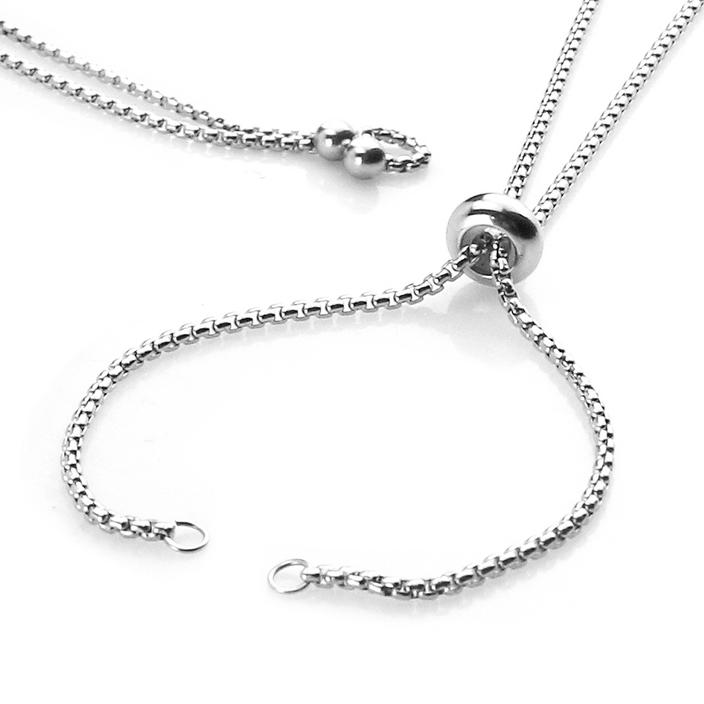2pcs Stainless Steel Adjustable Slider Necklace Chain Jewelry Making DIY Loops Connector Pendants Material Findings Supplies